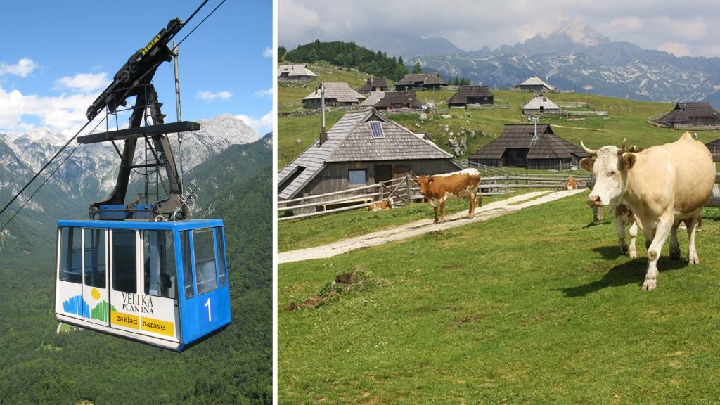 A short gondola ride to the mountain pastures of Velika Planina.